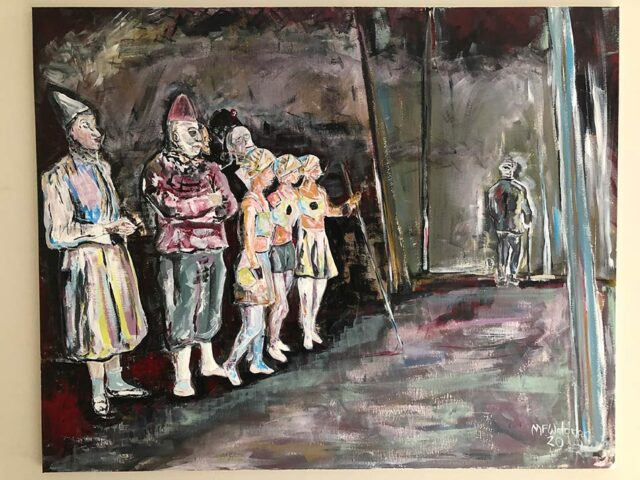 Two Clowns, An Auguste and Three Rosinback Riders, Bid A Fond Farewell To A Josser.